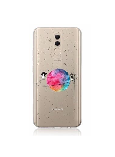 Microsonic Huawei Mate 20 Lite Desenli Kılıf Gezegen Renkli